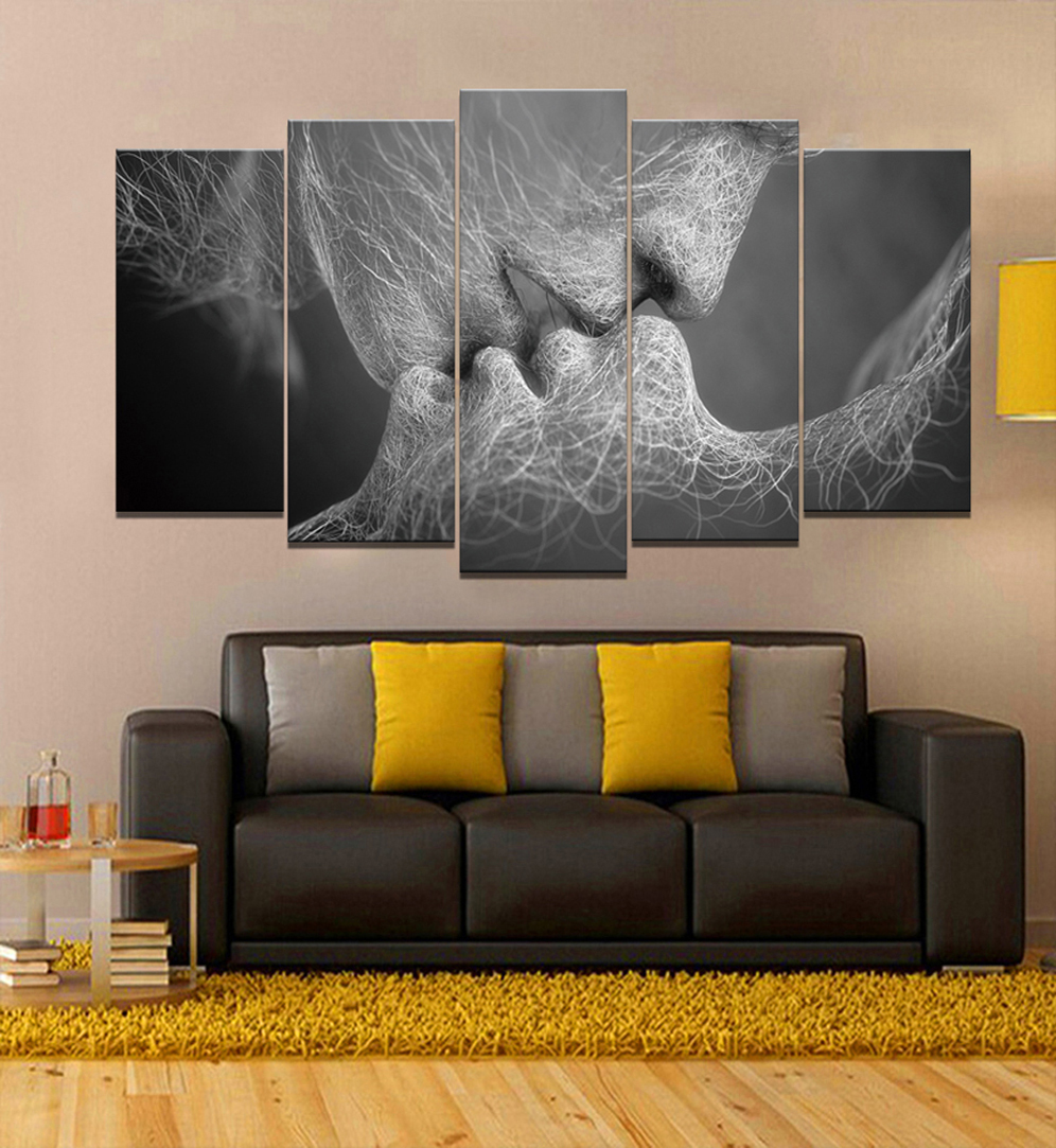 Kiss Of The Love Frameless Paintings 5pcs (No Frame) Printd On Canvas Arts Modern Home Wall Art, HD Print Painting Picture