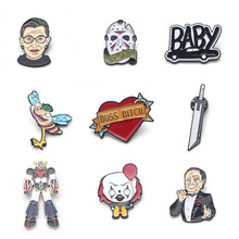 V140 Horror Movie Ghost It Metal Enamel Pins and Brooches Fashion Lapel Pin Backpack Bags Badge Collection Gifts 1PCS k678 ghost clown it horror metal enamel pins and brooches for lapel pin backpack badge collection halloween gifts for kids