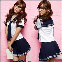 Japanese School Uniform Turn-down Collar Short Sleeve Sailor Tops + Skirt Navy School Style College Students Costume For Girl