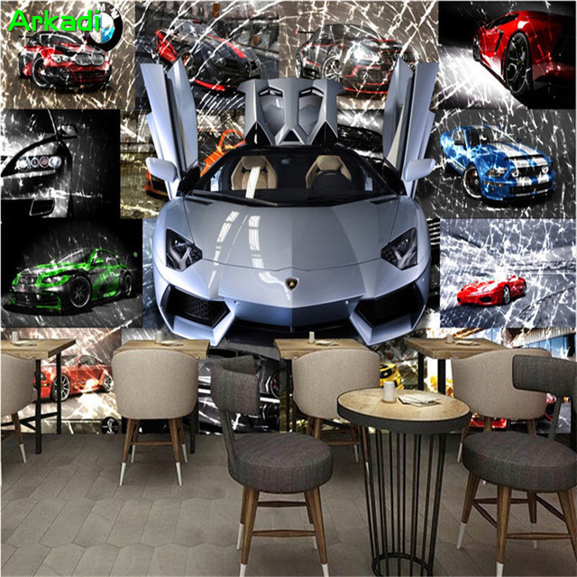 3d Wallpaper Car Racing Theme Sports Car Broken Glass Mural Theme