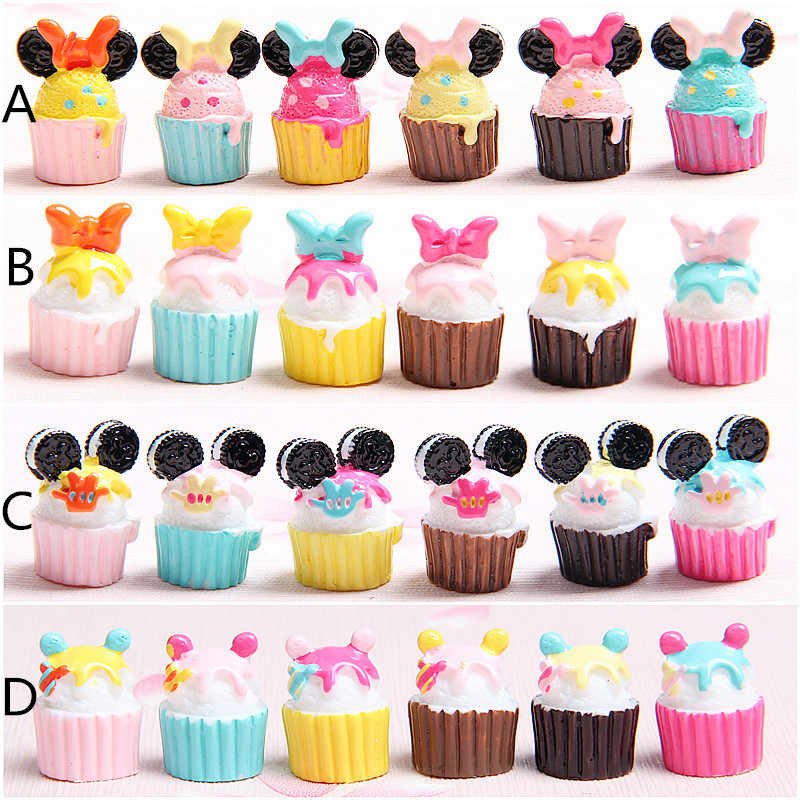 10Pcs/lot Kawaii Flat Back Diy Miniature Artificial Fake Food Cake Resin Cabochon Cartoon Decorative Craft Dollhouse Accessories