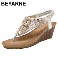 BEYARNE 2018 Summer Women Platform Sandals Middle High Heels Sandals Retro Sandalet Ladies Party Shoes Zapatos