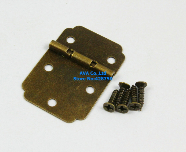 40 Antique Brass Jewelry Box Hinge Small Hinge 22x30mm with Screws