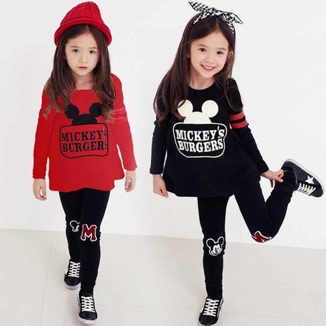 Baby Girl Clothing Set 100% Cotton Spring Kids Set Full Sleeve Tops + Pants 2pcs Cartoon Printed Children Outfits 3  6 8 10 Year