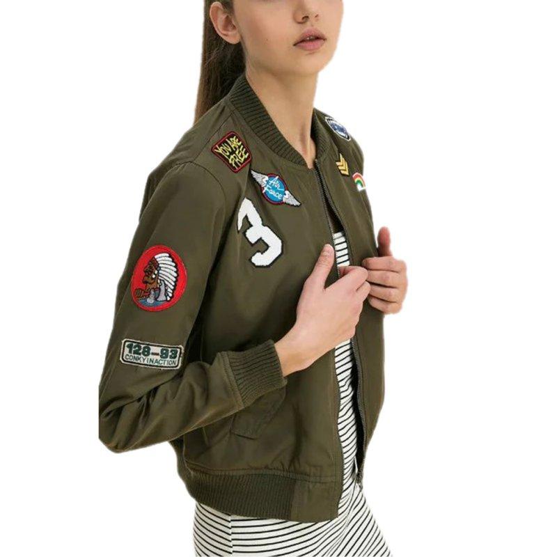 Nauji moteriški paltai Armijos žalios spalvos bombonešio striukės Moteriški paltai, skrybėlės kostiumai, atsitiktiniai Spausdinimo striukė, išsiuvinėti pleistrai, striukės paltai LM93