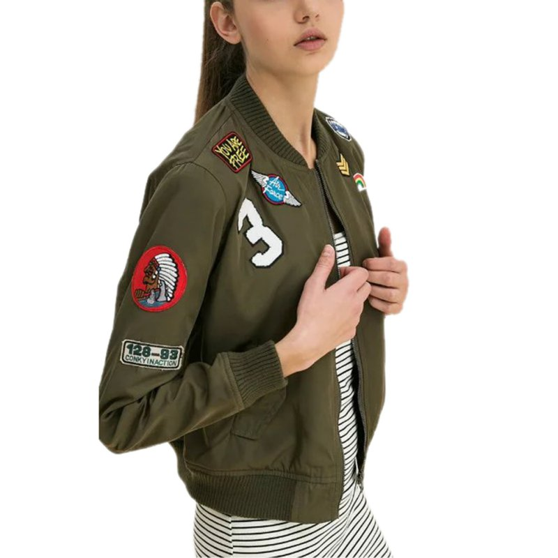 Baru Wanita Coats Army Hijau Bomber Jaket Mantel Perempuan Jas Kasual Cetak Jaket Bordir Patch Jaket Coats LM93