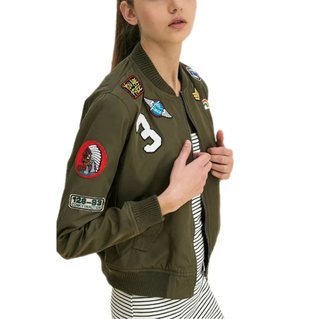 Novas Mulheres Casacos Verde Exército Bombardeiro Jaquetas Femininas Casacos Jaqueta Casaco Macacão de Vôo Jaqueta de Impressão Ocasional Bordado Remendos LM93