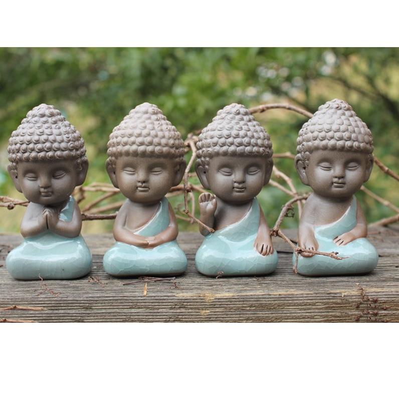 buddha zen statue garden bonsai decoration young monk figurine fleshy decorate tea pet porcelain. Black Bedroom Furniture Sets. Home Design Ideas