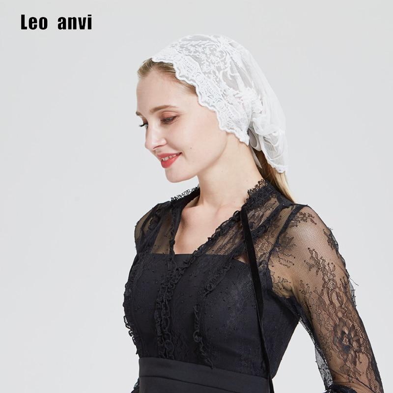 Leo Anvi Lace Headband Of Flower Embroidered Headwrap Yoga Headcovering Hair Prayer Church Veil Wedding Bandana Vintage Headband