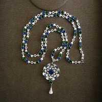 Fshion AAA キュービックジルコニア古典花ホイール形のペンダントロングチェーンネックレス、女性の見事なジュエリー、 P2013