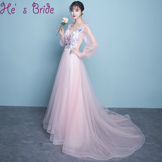 0dd1920739 Evening Dress Elegant Pink A Line V Neck Poer Long Sleeves Lace Up Back  Sweep Train Tulle Sweet Lace Sequines Party Prom Dress