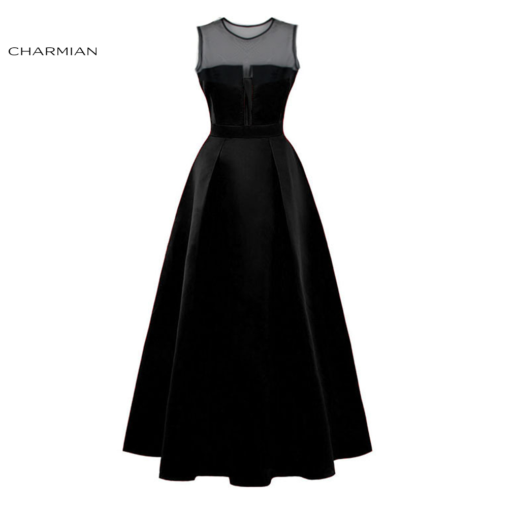 Charmian Women's Summer Plus Size Sexy Elegant Dress Mesh See Through Wedding Party Pleated long Evening Black Dress Vestidos