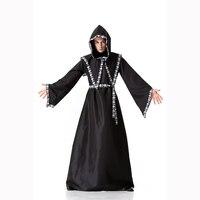 Disguise Men Medieval Monk Cosplay Wizard Hooded Robe Friar Priest Church Cowl Halloween Costume Adult Men Black Wizard Robe