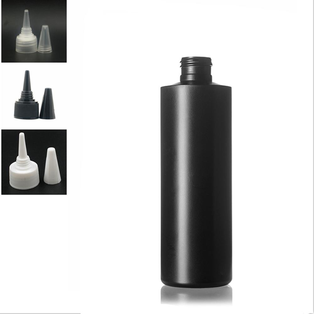250ml Empty Plastic Bottle , Balck HDPE Cylinder Round With Black/white/transparent Twist Top Caps, Pointed Mouth Top Cap