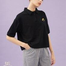Женская рубашка хлопок милая девушка вышивка короткий рукав женские черные рубашки поло Топы свободные консервативный стиль летний