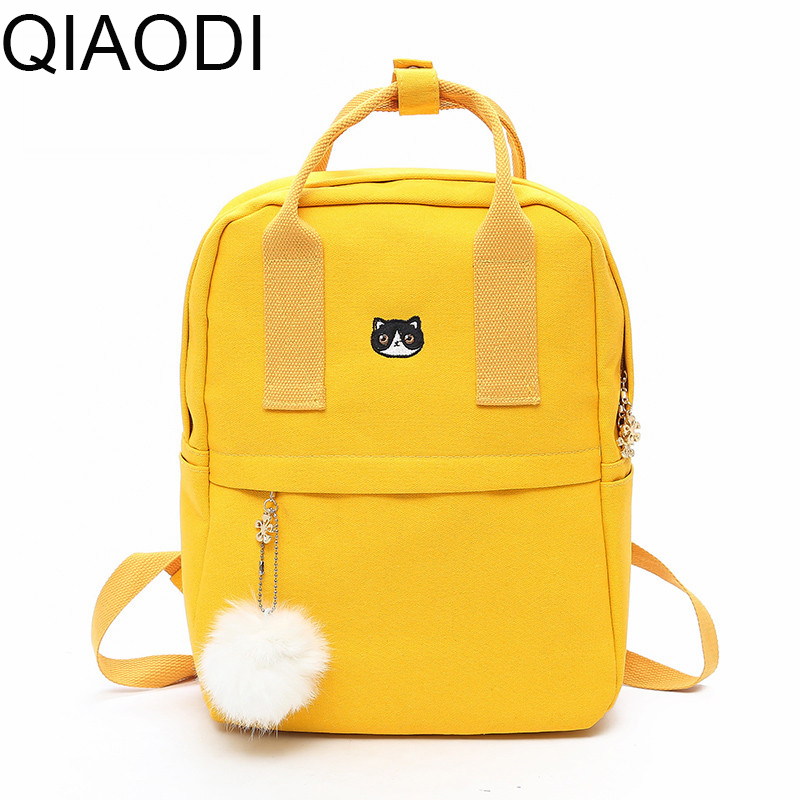 Qiaodi Canvas Backpack Preppy Style School Bags for Teenage Girls Fashion Women Backpack Cute Back Pack Student Bags Mochilas