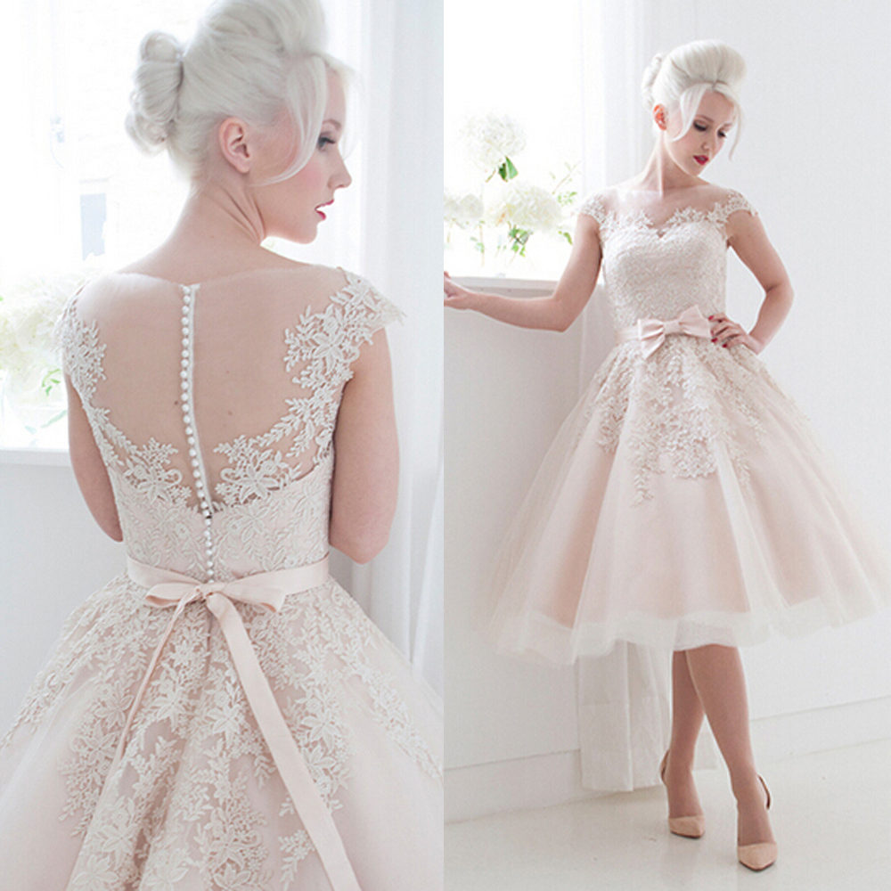 Cute pink bateau lace tea length wedding dresses short cap for Wedding dresses tea length with sleeves