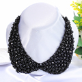 Black/Blue/Brown/Green/Pink/Red Beads Necklace Fake False Collar for Women Shirt Sweaters Collars Fashion Accessories