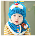 Azul Bebé Sombrero de Invierno y Bufanda Conjunto Muy Caliente Infantil de la Gorrita Tejida gorra para Niños Niños Niñas lindo conejo Crochet Chal de Punto