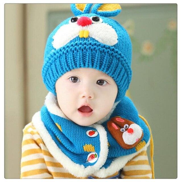 386122dc90ba4 Azul Do Inverno Do Bebê Chapéu e Lenço Set Muito Quente Gorro Infantil cap  para as