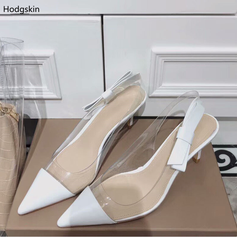 5a89a5c6572 US $73.91 31% OFF Chic Plexiglass Clear PVC Slingback High Heels Women  Shoes Pointed Toe Pumps Big Bow Side Nude Black Leather Sapato Feminino-in  ...