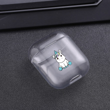 Cases For Airpods Cute unicorn Painted Transparent Hard PC AirPods Protective Cover Wireless Earphone Case
