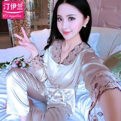 Новая женская шелковая пижама с длинными рукавами, сатиновая Пижама, женские пижамы с брюками, чистая шелковая ночная рубашка, 2 предмета