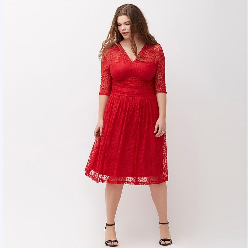 6xl Plus Size Red Lace Dress 2017 New Summer High Waist