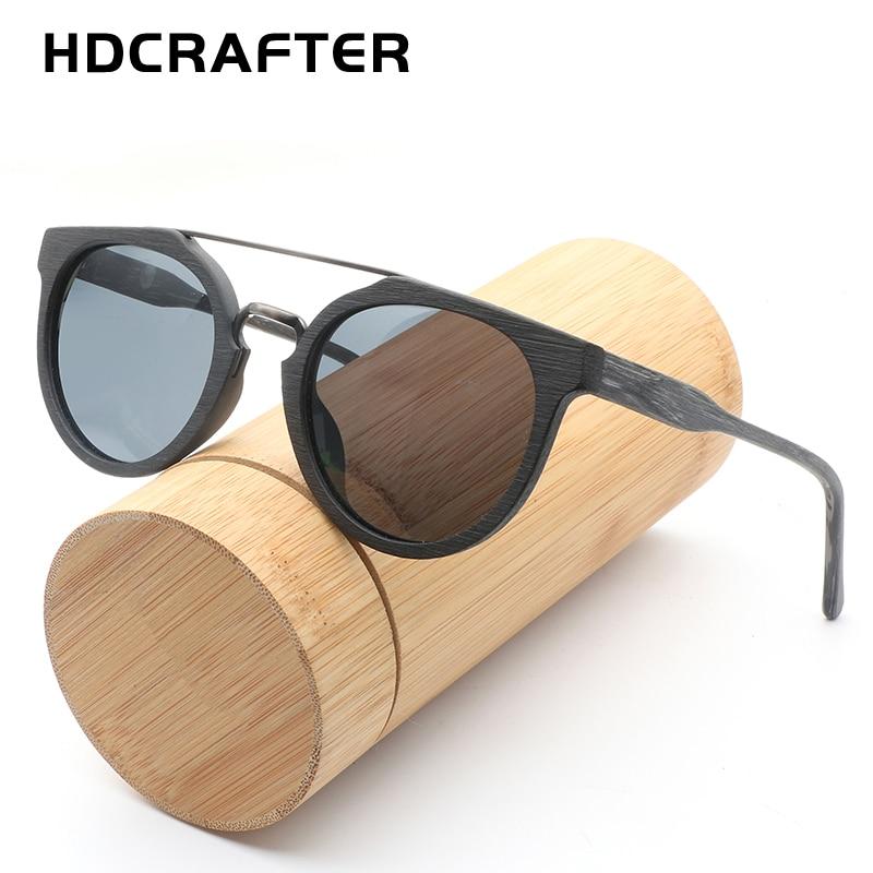 HDCRAFTER Round Vintage Wood Sunglasses Polarized Mens Brand Designer Sun Glasses Wooden Sunglass Women oculos de sol masculino