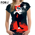 FORUDESIGNS 2017 Fashion Women T-Shirt Feminino Harley Quinn Short Sleeve Tshirt Female Clothes Vetement Femme Tops Plus Size