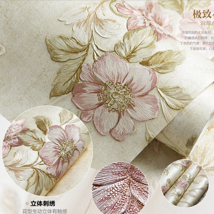 Vintage Chinese Non-woven Wallpaper Roll Chinese 3d Embroidery Floral Wallpaper Flowers Bedroom Background Wallpaper Roll Paper 2016 new selling non woven wallpaper south east asia imitation embroidery american birds and flowers bedroom tv porch wallpaper