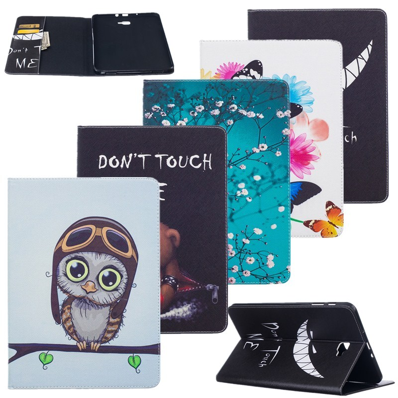 Tablets Cover For Samsung Galaxy Tab A 10.1 T580T585SM-T580T580N Cases PU Leather Owl Butterfly Flip Stand Wallet Girls Kids