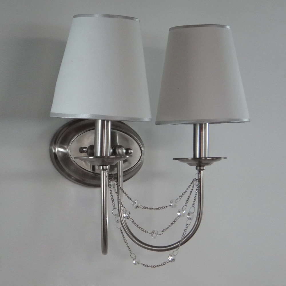 Factory direct American vintage crystal Iron elbow cloth cover double wall lamp wall lamp living room hallway club