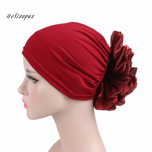 Image 1 - Helisopus New Woman Big Flower Turban Elastic Cloth Hair Bands Hat Chemo Beanie Ladies Muslim Scarf Hair Accessories