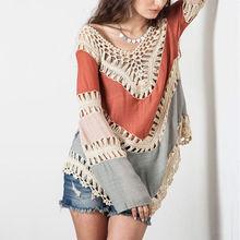 Оранжевые, синие женские блузки для девочек, распродажа, женская блузка с вырезом,, высокое качество, хлопок, длинный рукав, v-образный вырез, блузка для девушек