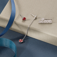LEKANI 2019 3pcs Love Ear Climber Cuff 925 Sterling Silver Asymmetric Long Chain Red Heart Crystals from Swarovski Stud Earrings