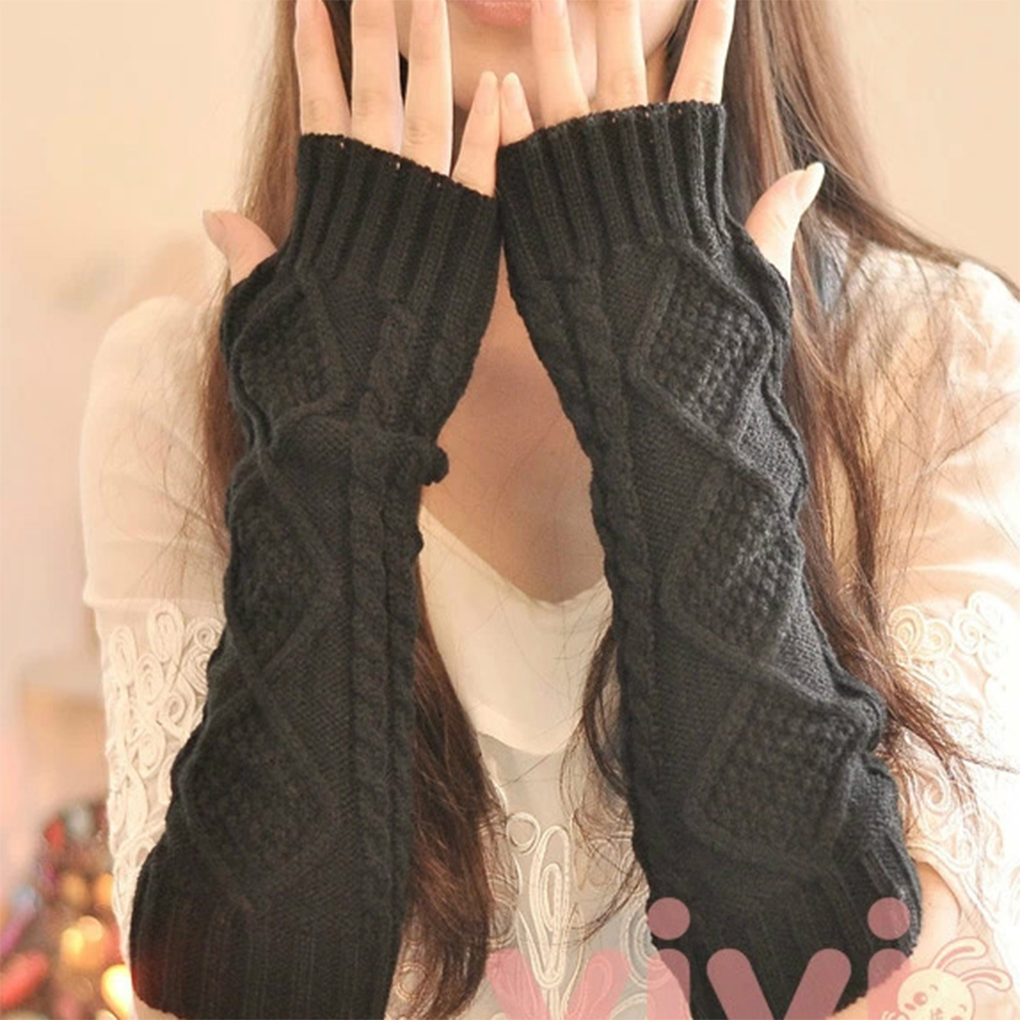 1 Pair Autumn Winter Women Knit Gloves Arm Wrist Sleeve Warmer Girls Rhombus Long Half Winter Mittens