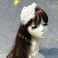 Horquilla Tocado de Plumas de Perlas de Cristal de Diamante de la manera de Las Nuevas Mujeres de Dos Colores