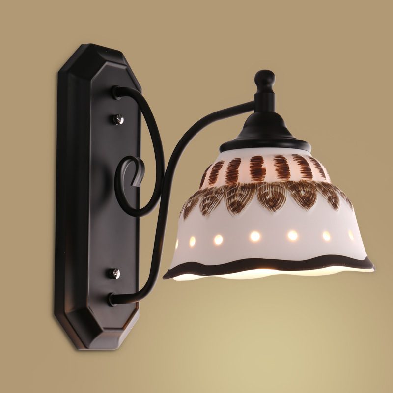 American Style Art Wall Light Ceramic Metal Decor Wall Lights Cafe Hotel Lamp Home Bedside Night Lighting Lamps Luminaire CraftsAmerican Style Art Wall Light Ceramic Metal Decor Wall Lights Cafe Hotel Lamp Home Bedside Night Lighting Lamps Luminaire Crafts