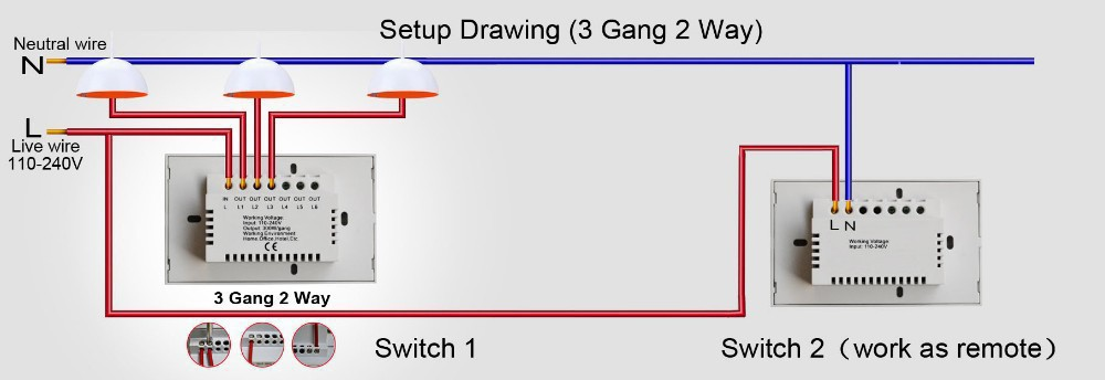 au / us type touch light switch 1 gang 2 way with glass panel and, Wiring diagram