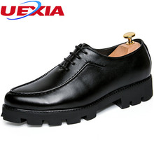 Fashion Black Leather Dress Shoes For Men Luxury Business Casual Men's Shoes Wedding Gentleman Oxford Thick bottom Increased 5cm