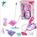 Aparelhos de simulação brinquedo mais limpo plástico abs ferramenta kit de limpeza aspirador de pó elétrico para crianças play house toys rosa 1:8