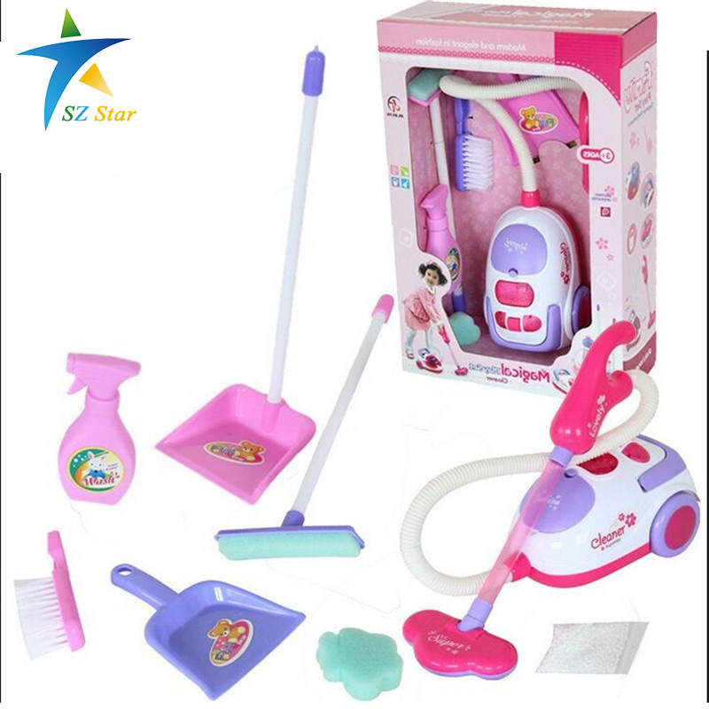 ФОТО Simulation Appliances Toy Cleaner ABS plastic Cleaning Kit Tool Electric vacuum cleaner for kids Play house toys pinks 1:8