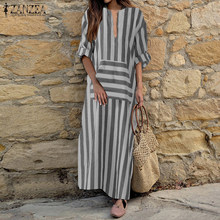 2019 Plus Size ZANZEA Autumn Casual Women V Neck Long Sleeve Pockets Vintage Striped Loose Work Office Maxi Long Vestido Dress(China)