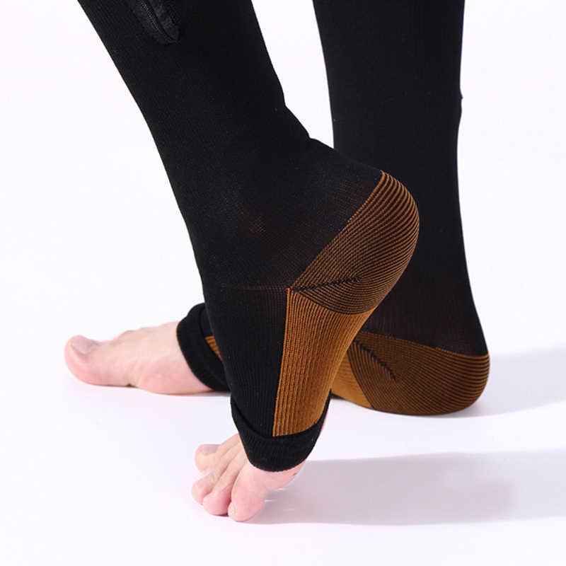 ... Мужские и женские Компрессионные носки на молнии с открытым  носком-лучшая поддержка гольфов на молнии ... a1ab1c49185