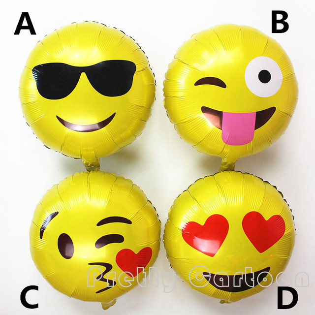 18 Expression Balloons Emoji Foil Balloon Happy Birthday Party Emoticons Helium Ballon Wedding Decor Inflatable Balls