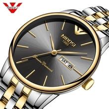 Nibosi メンズ腕時計トップブランドの高級クォーツ montre オムミニマリスト超薄型腕時計防水時計レロジオ masculino