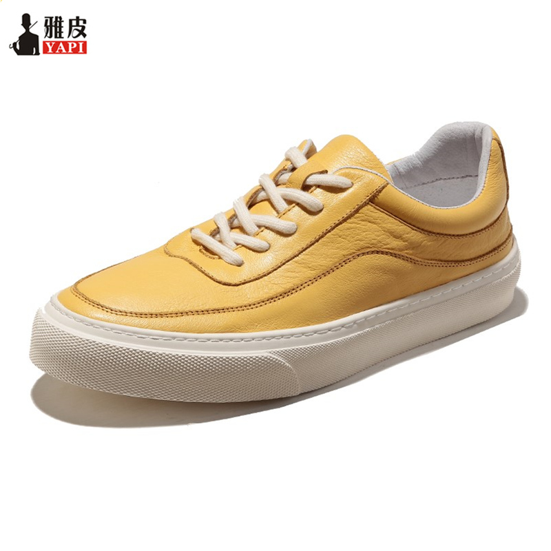 US Size Trendy Soft Genuine Leather Leisure Mens Shoes Lace Up Fashion Sneakers Boys Casual Flat White Leather Shoes