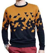 Winter Spring Men's Casual Thicken Warm Fleece Sweater, Fashion Printed Contrast color men's Pullover Knitwear.