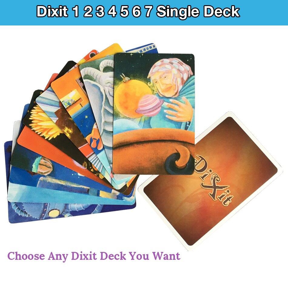 Hohe Qualität Dixit 1 2 3 4 5 6 7 einzelnen deck karten spiel original zurück für party brettspiel spielkarten